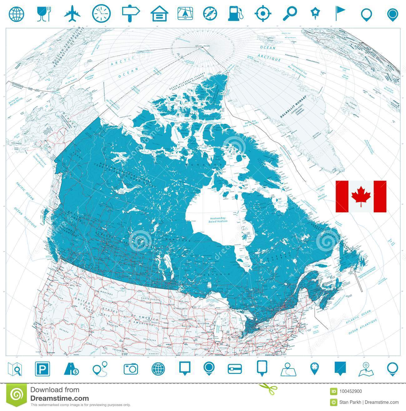 Road Map Of Canada.Giant Detailed Road Map Of Canada And Navigation Icons Stock Vector