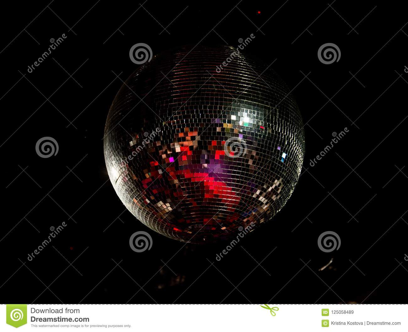 Giant disco ball in the discoteque