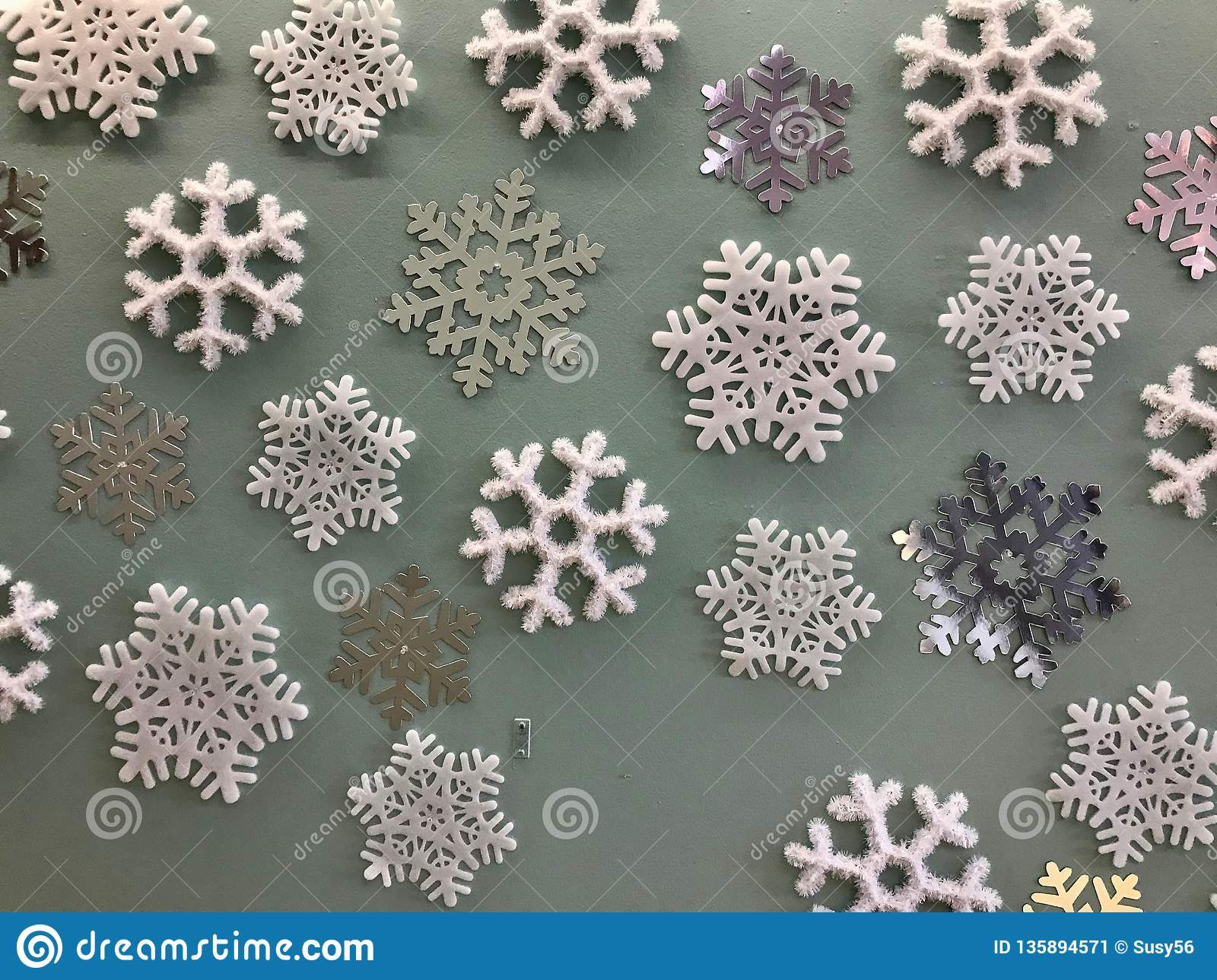 Giant Fake Snowflake Decorations On A Wall Stock Image Image Of