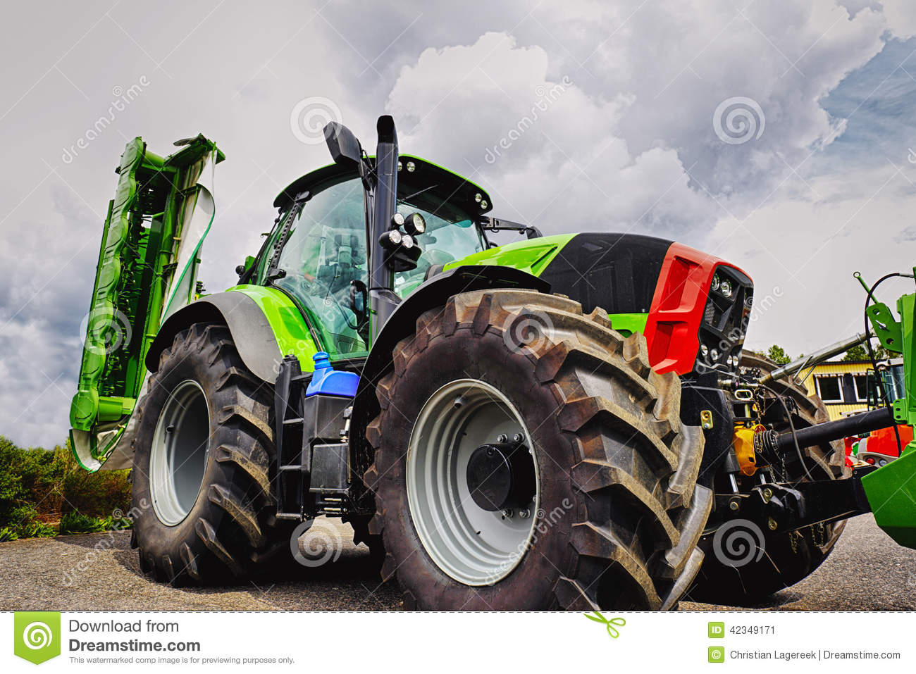 Large Tractor Wheels : Giant farming tractor tires and plough stock image