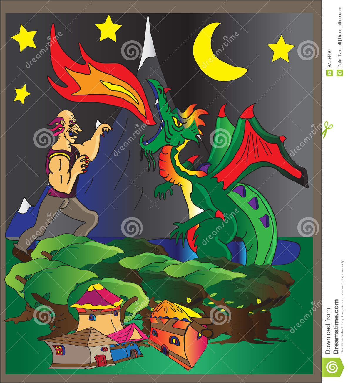 Giant fighting dragon stock illustration  Illustration of