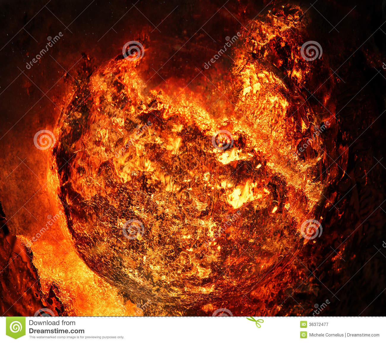 Giant fireball royalty free stock photography image for Space created