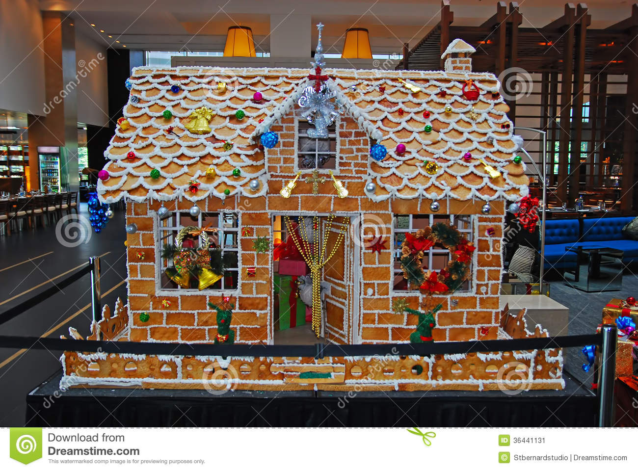 Giant Ginger Bread House During Christmas Season Stock