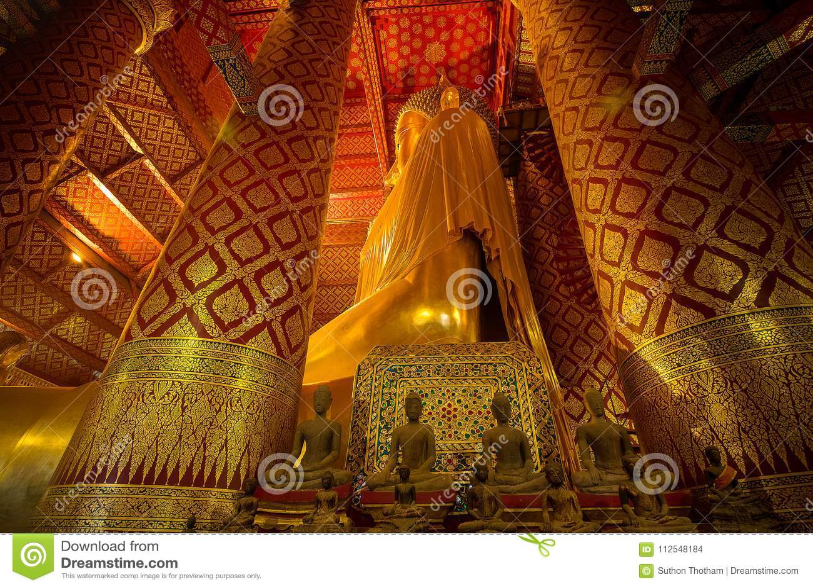 Giant golden Buddha in Wat Phanan Choeng Temple in Ayutthaya, Th