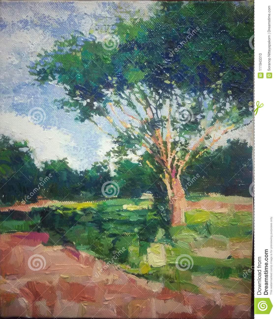 Giant Isolate Tree Impressionism Acrylic Oil Painting Stock ...
