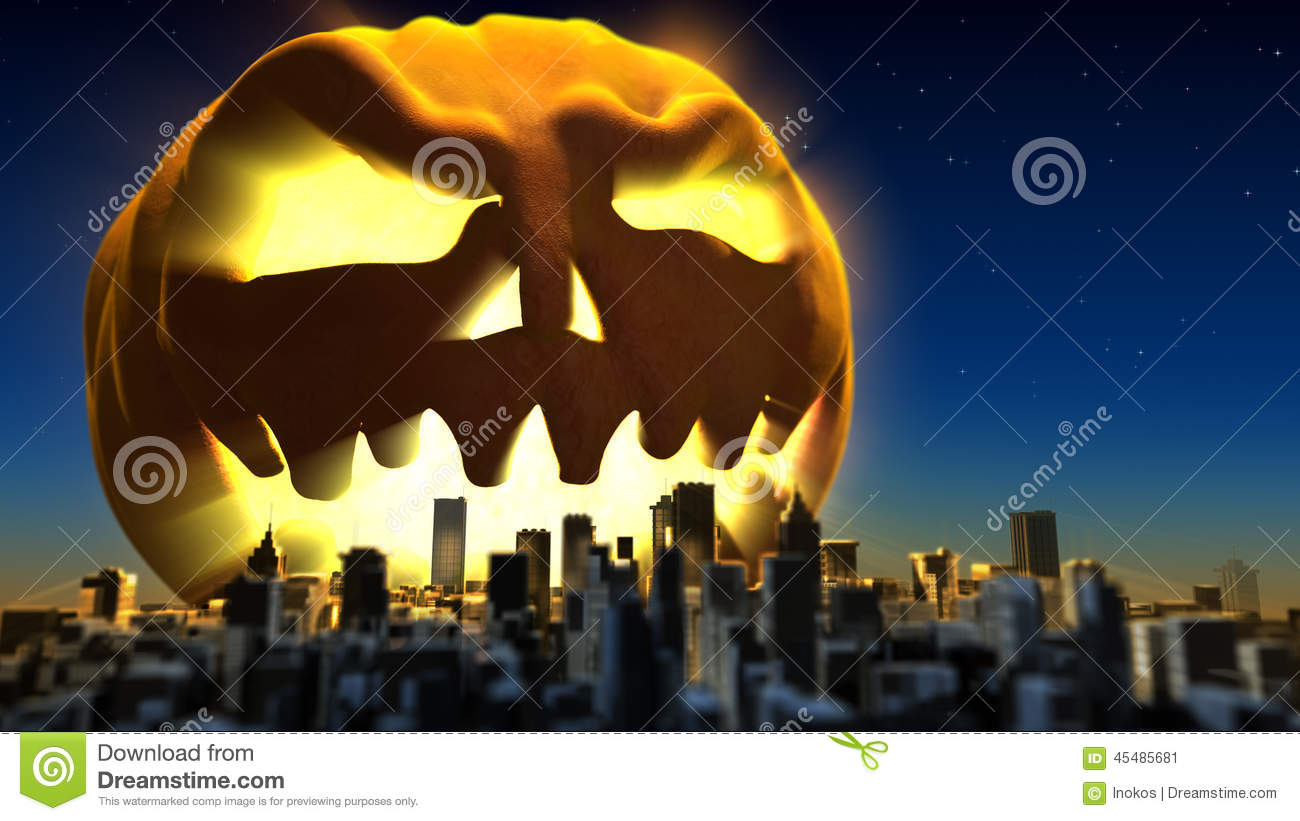 giant monster pumpkin attacked a city fantasy halloween 3d illustration