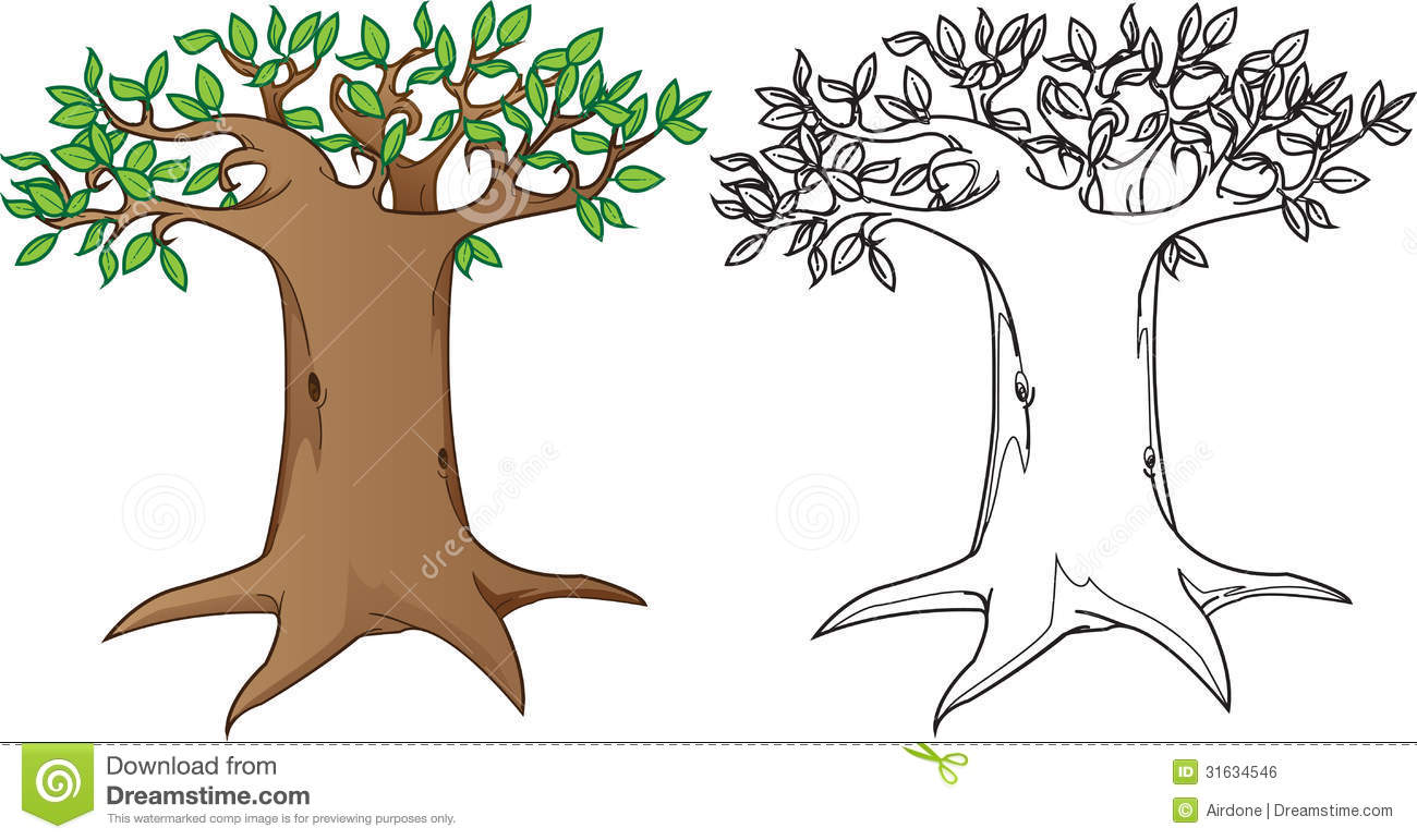 Giant Mysterious Tree In Color And Black White Ve Stock Vector
