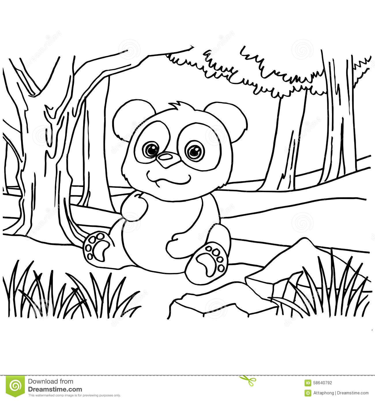 Giant Panda Coloring Pages Vector Stock Vector - Illustration of ...
