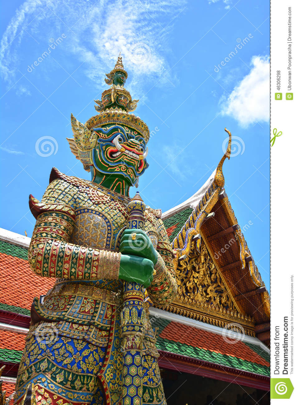 Giant Statue in Wat Phra Kaew Grand Palace, Bangkok, Thailand.