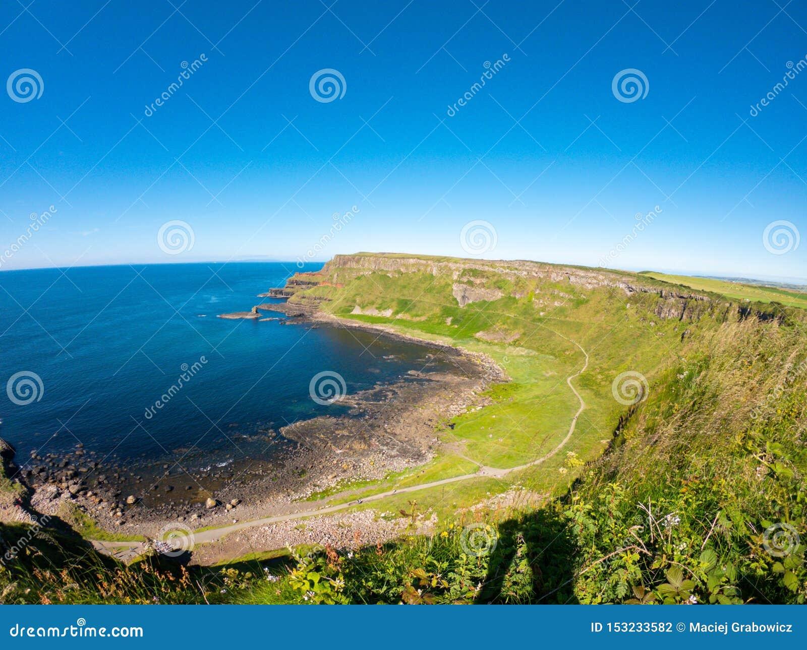 Giants Causeway Aerial view, basalt columns on North Coast of Northern Ireland near bushmills