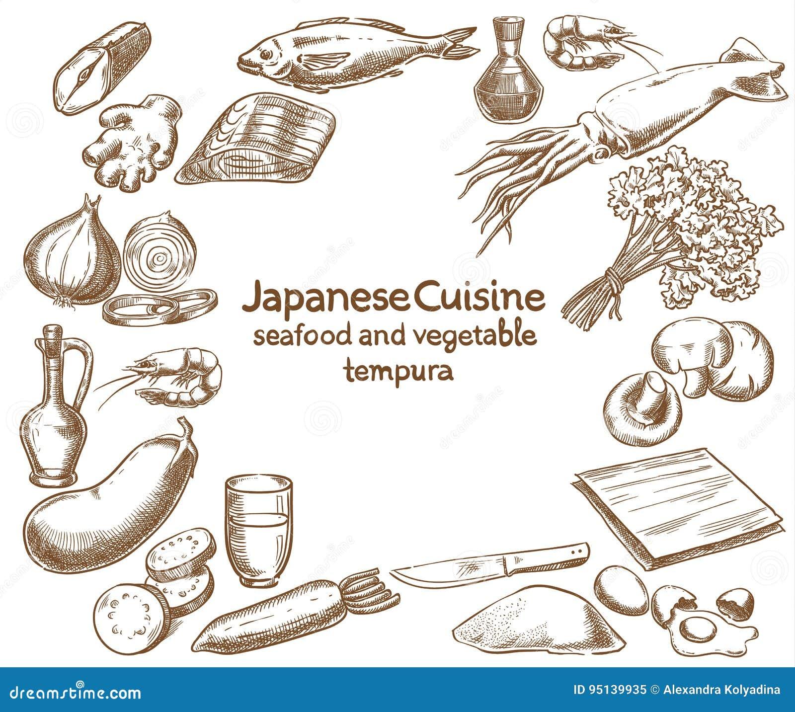 Giapponese Ingredienti della tempura della verdura e dei frutti di mare