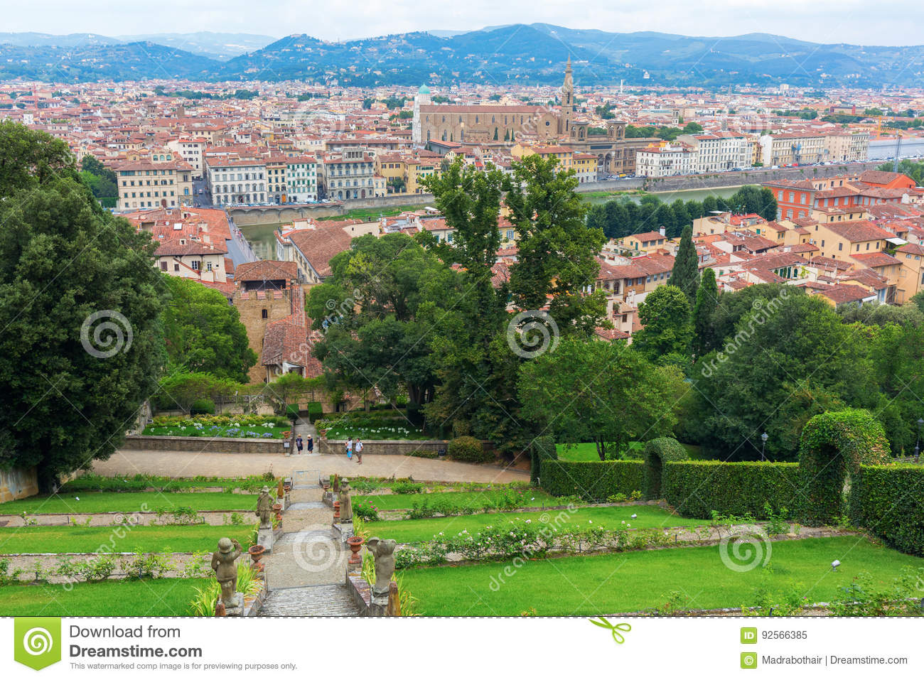 Giardino Bardini With View Over Florence Italy Editorial Image