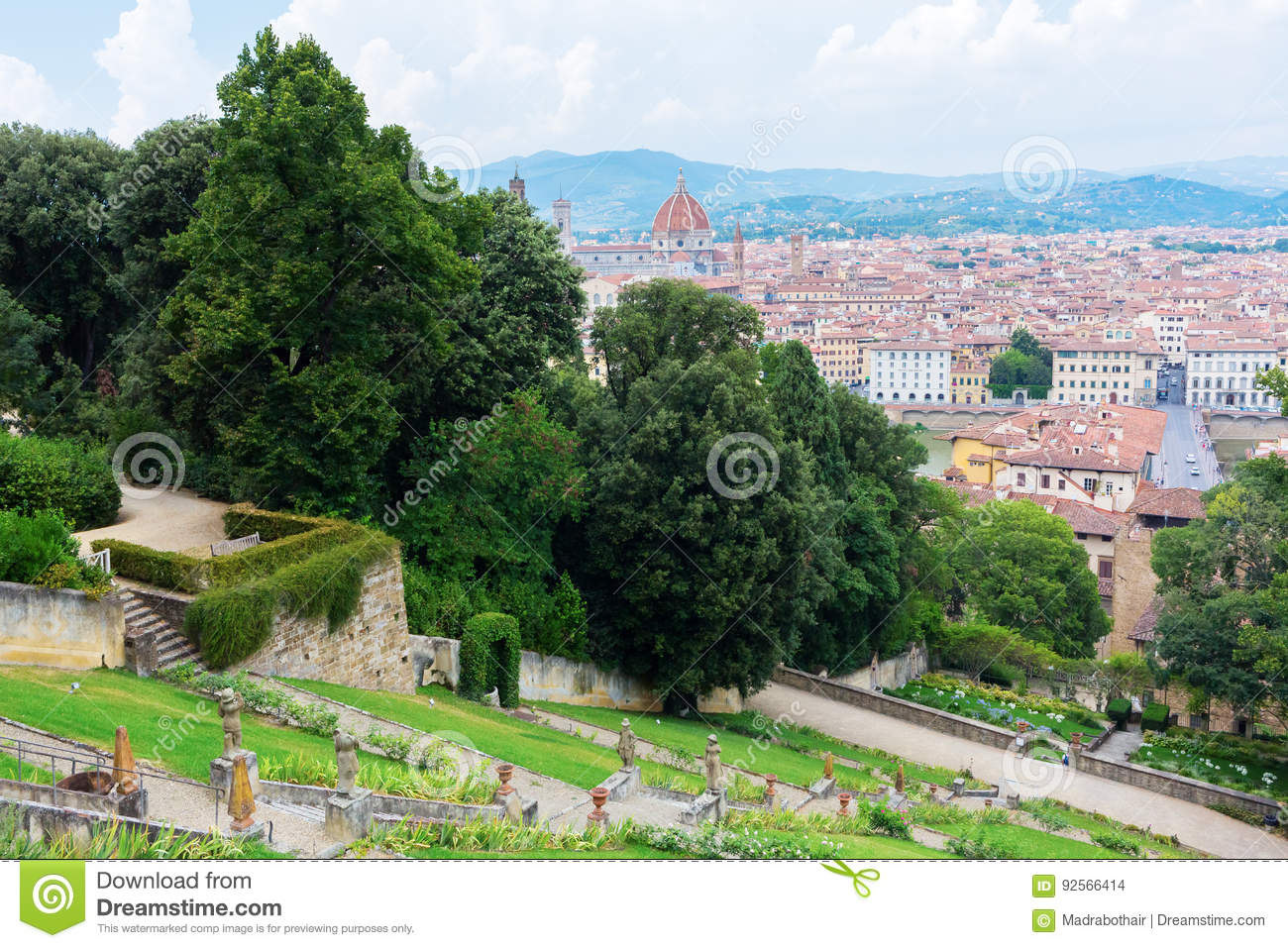 Giardino Bardini With View Over Florence Italy Editorial Stock