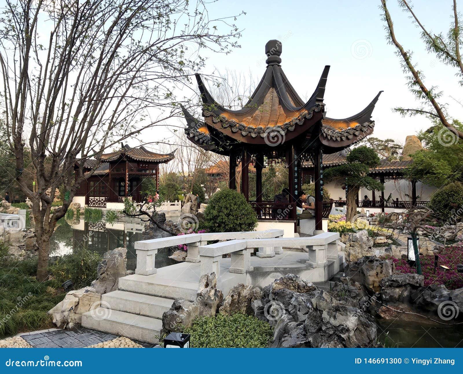 Giardino classico cinese, architetture cinesi, cultura cinese, esposizione orticola internazionale 2019 di Pechino
