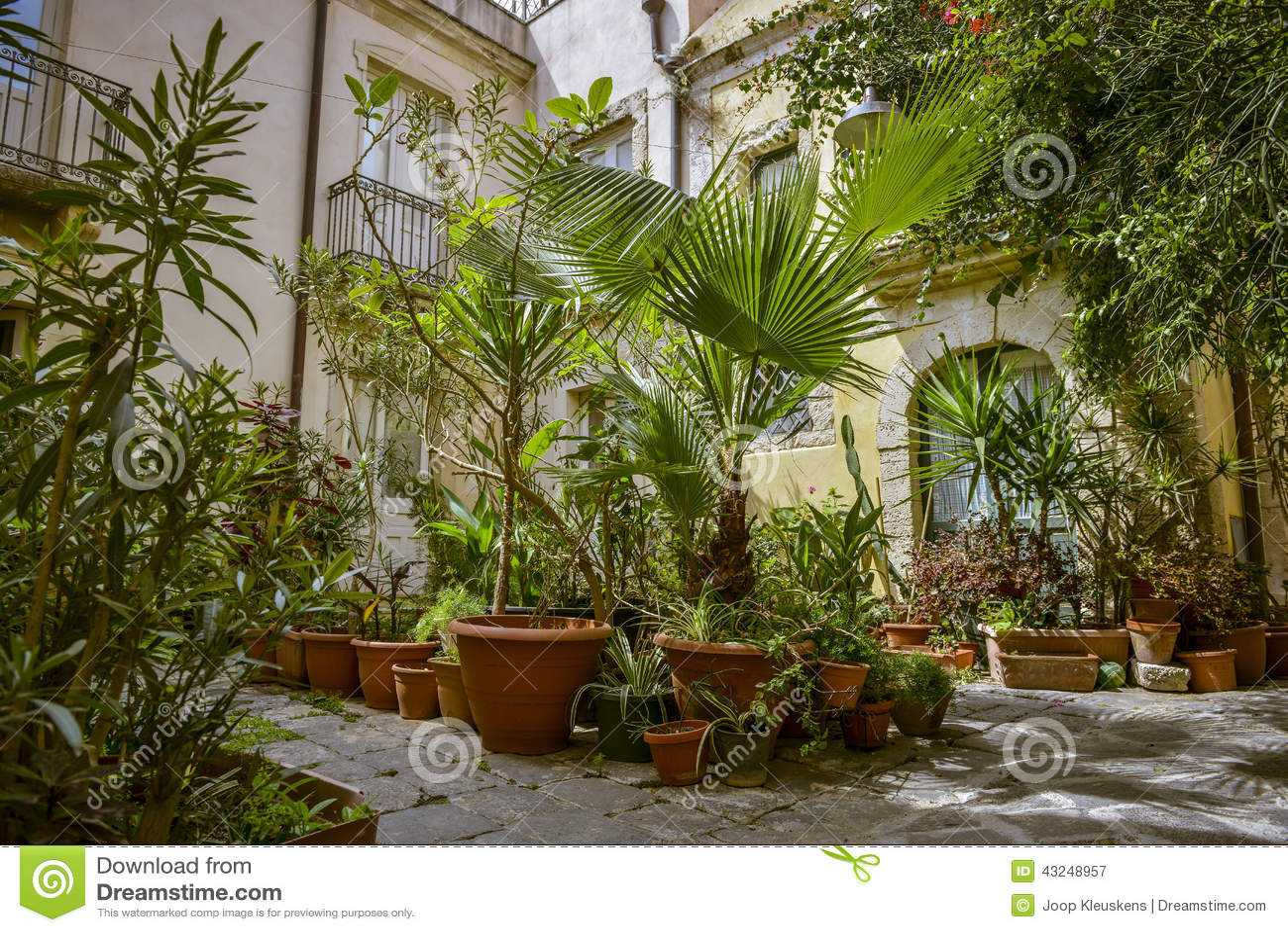 Giardino con i vasi di terracotta fotografia stock - Vasi terracotta da giardino ...