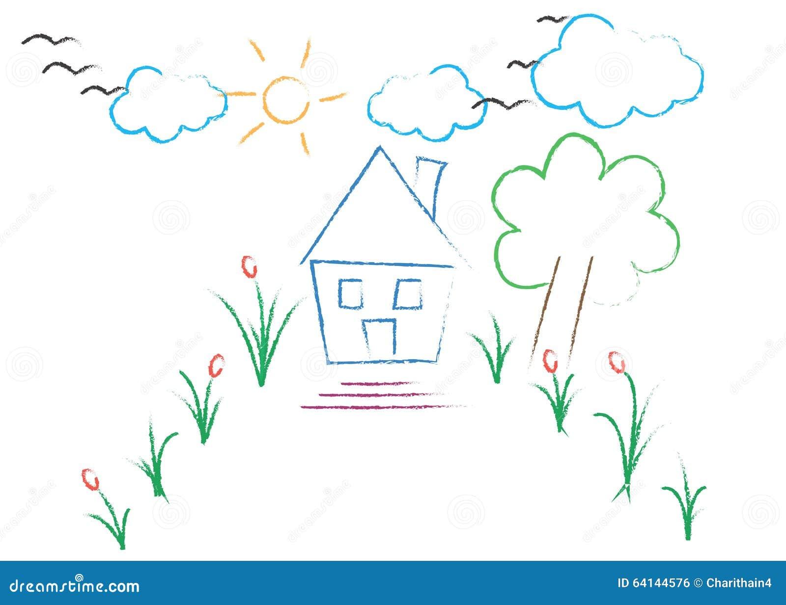 disegno Casa Giardino : Giardino Con Il Disegno Della Casa Illustrazione di Stock - Immagine ...
