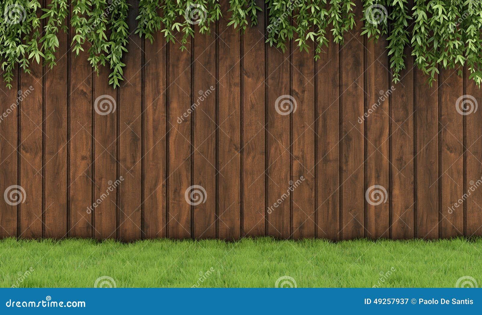 Giardino con il vecchio recinto di legno illustrazione di - Verjas de madera ...