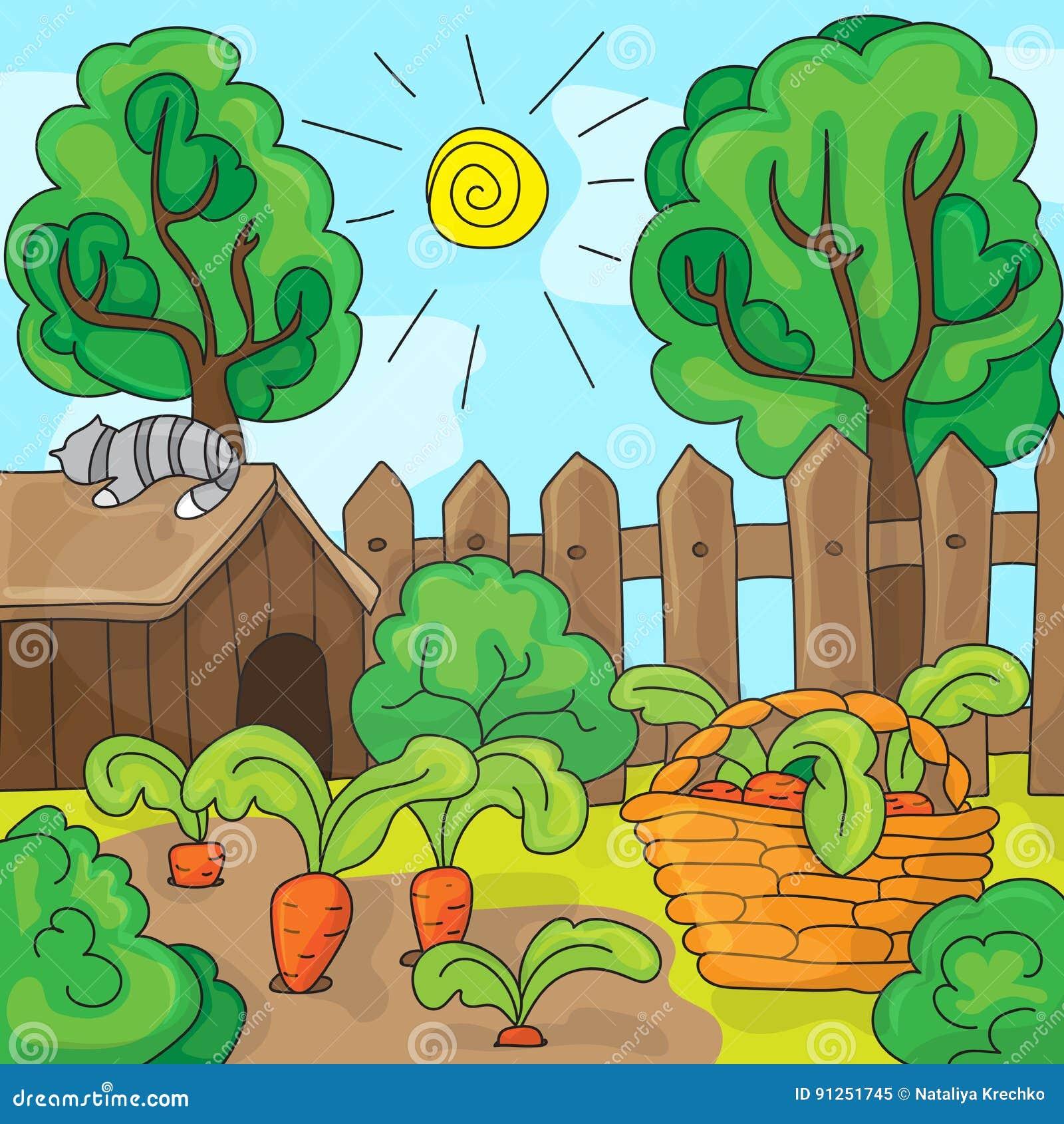 Giardino con le carote, illustrazione del fumetto di vettore
