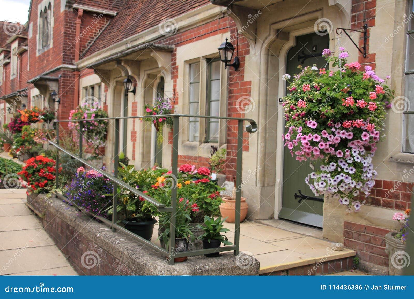 Giardino del cottage nel villaggio Salisbury in Inghilterra di estate