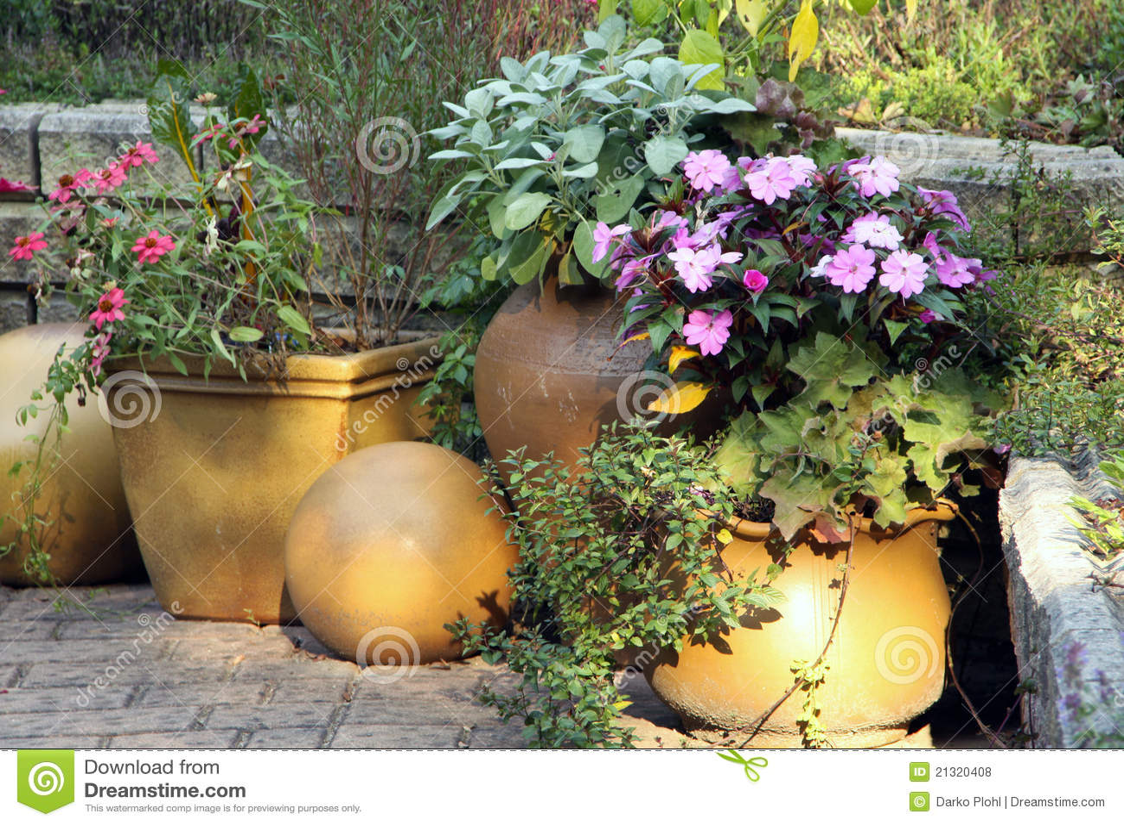 Giardino Del Terrazzo Con Le Piante Di POT Fotografie Stock Libere da ...