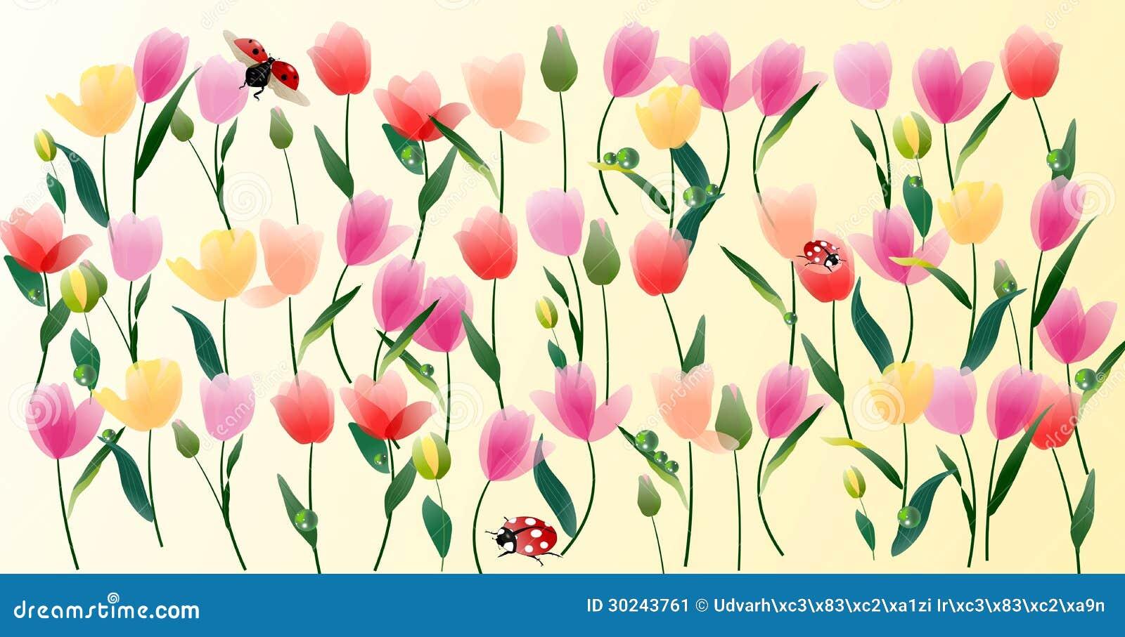 Giardino del tulipano con le coccinelle e le luci, disegno gentile per ...
