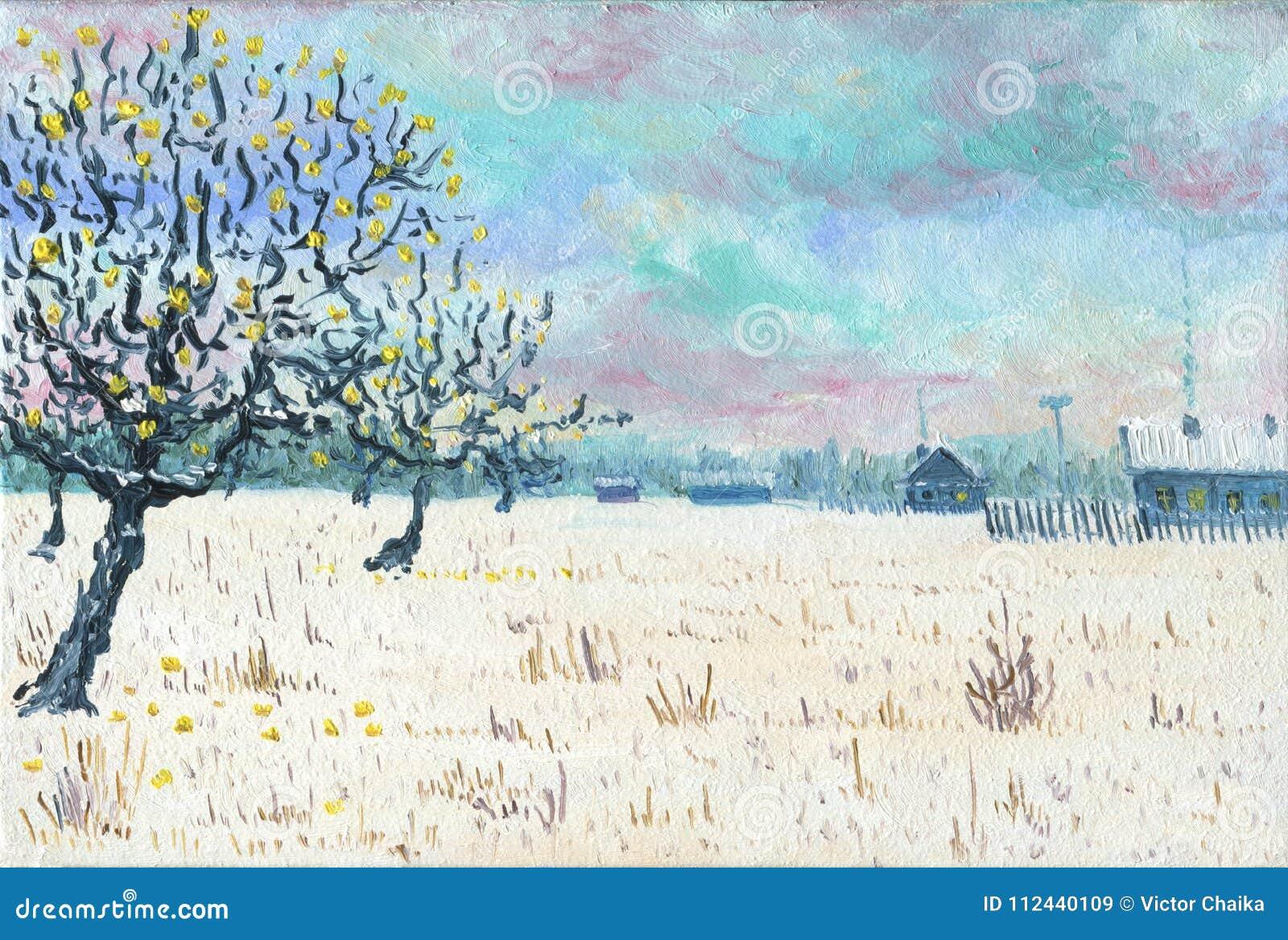 Giardino dell Apple-albero vicino al villaggio Pittura a olio
