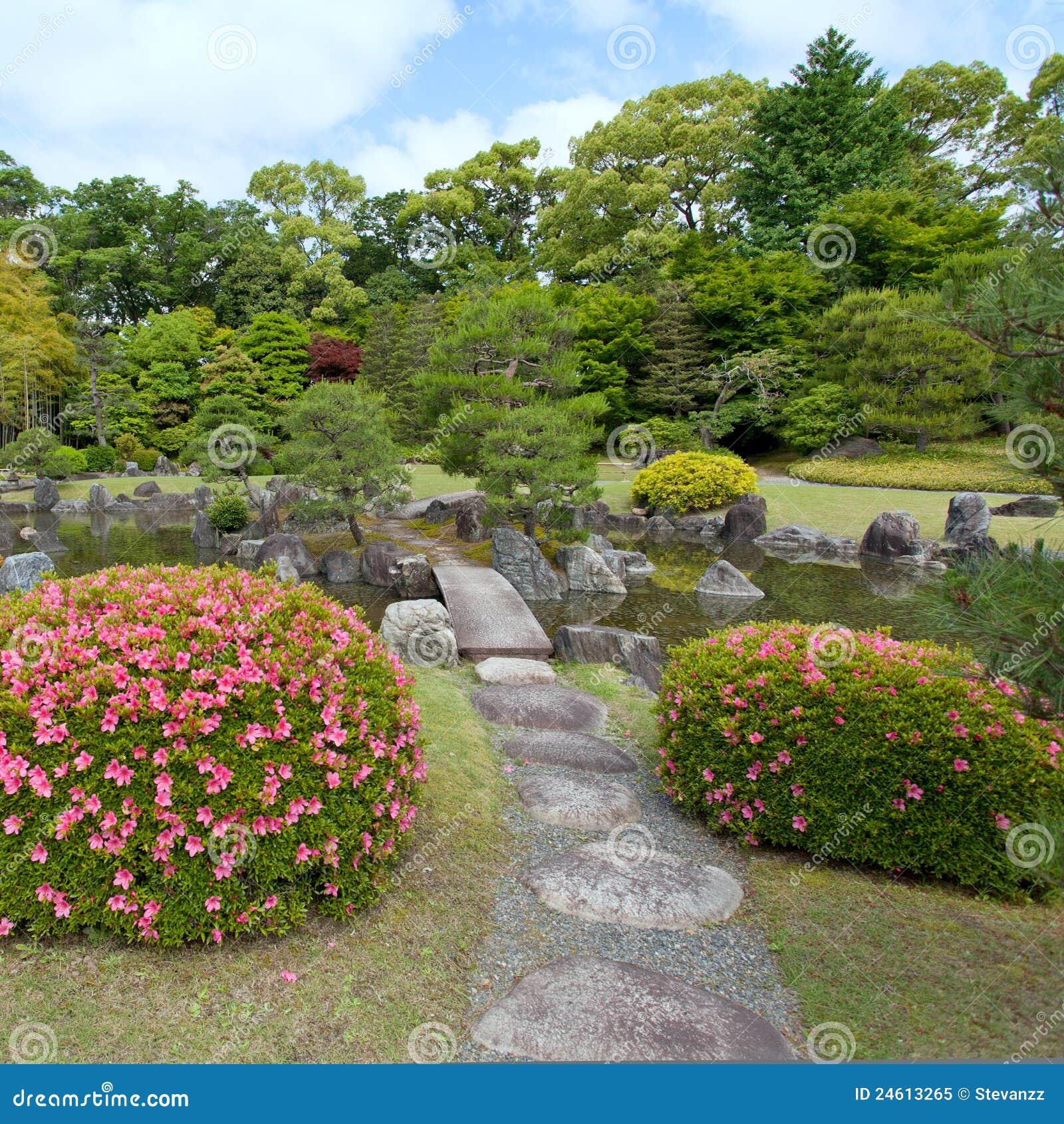 Giardino di zen con il ponticello le piante le rocce e for Piante da stagno