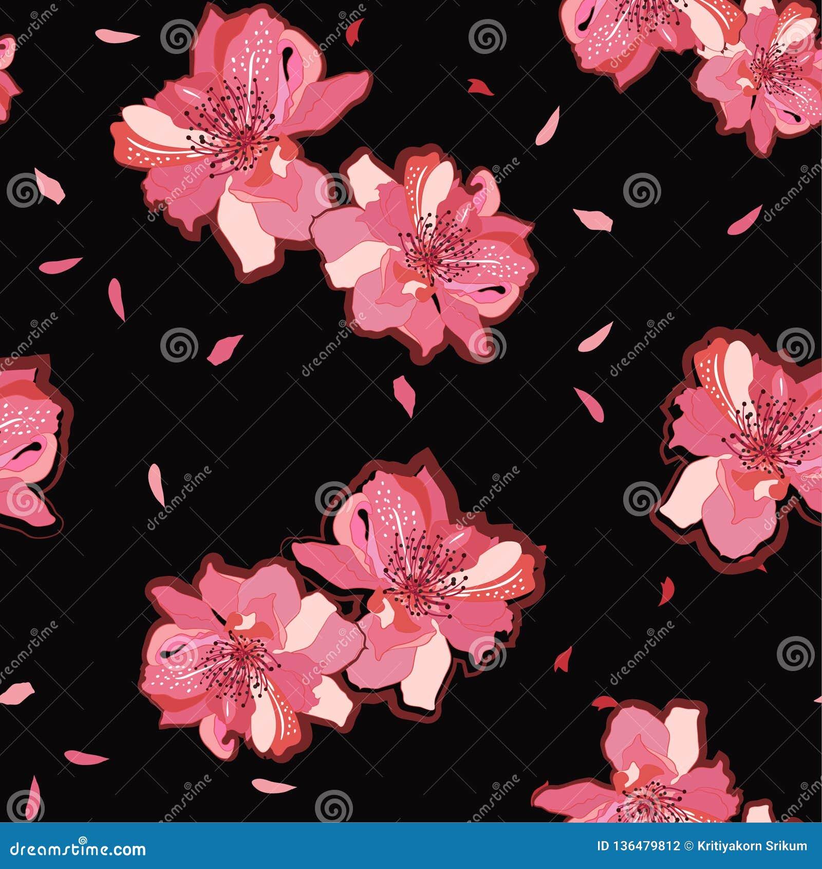 Giardino giapponese fiori del fiore di ciliegia o di sakura di fioritura rosa Vector il reticolo senza giunte Illustrazione per i