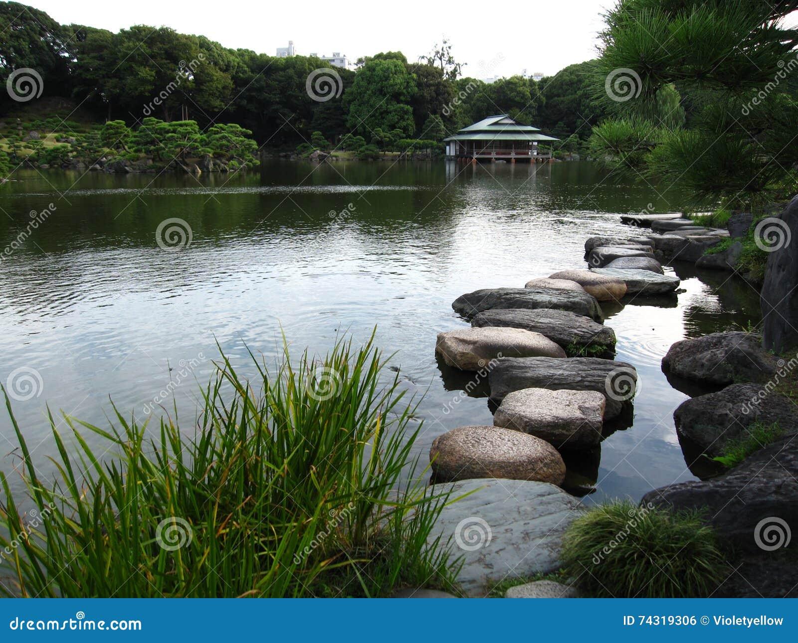 Giardino giapponese tradizionale con lo stagno e le pietre for Stagno da giardino