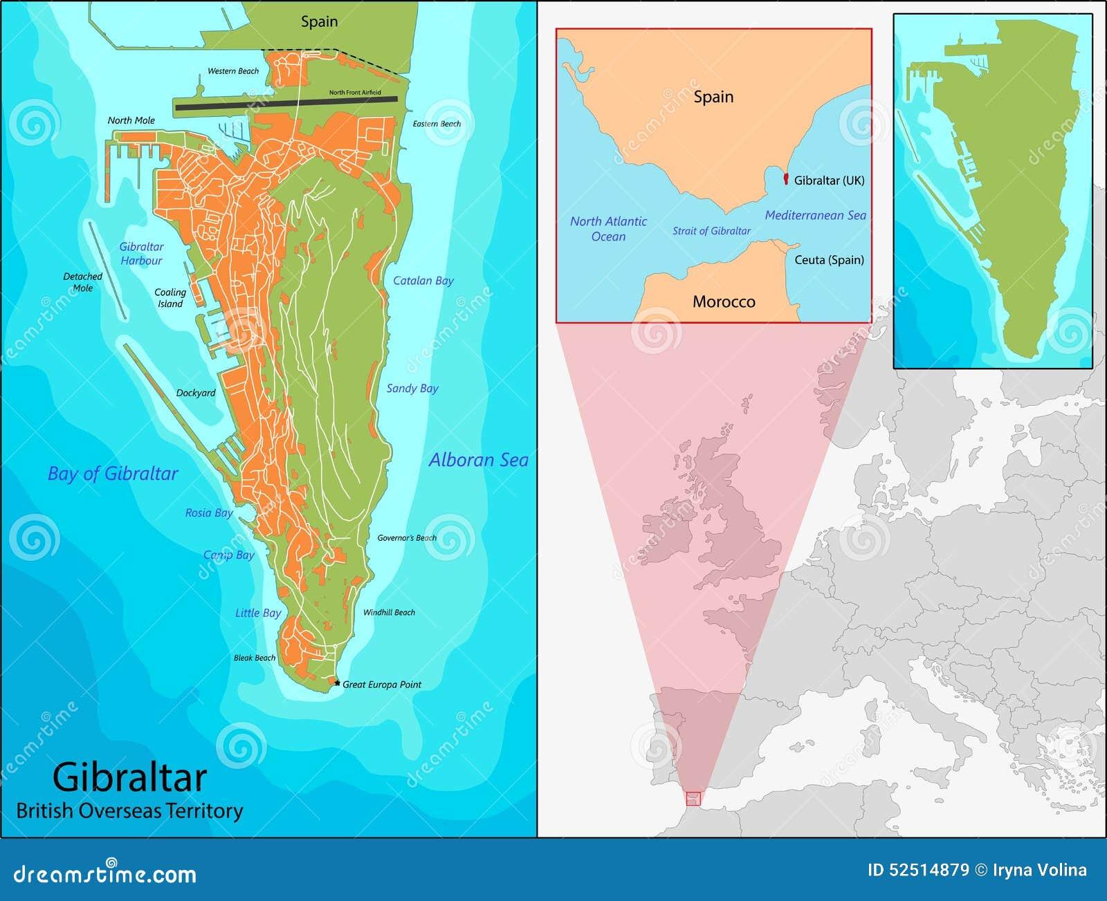 Gibraltar map stock vector. Illustration of region ...