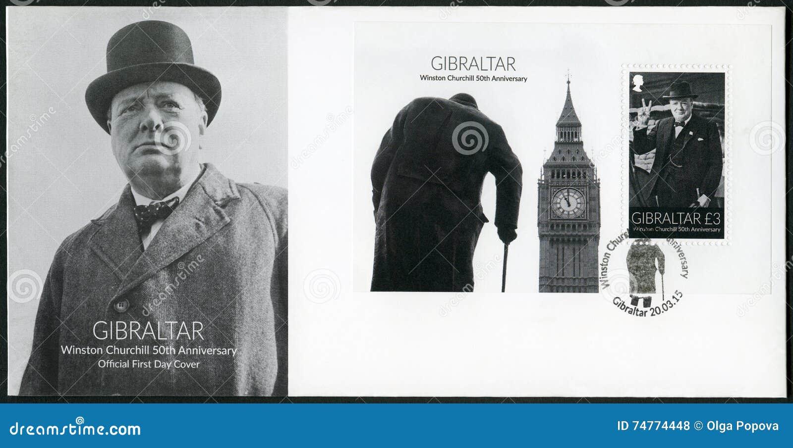 GIBRALTAR - 2015: przedstawienia Sir Winston Spencer Churchill 1874-1965, 50th rocznica, polityk