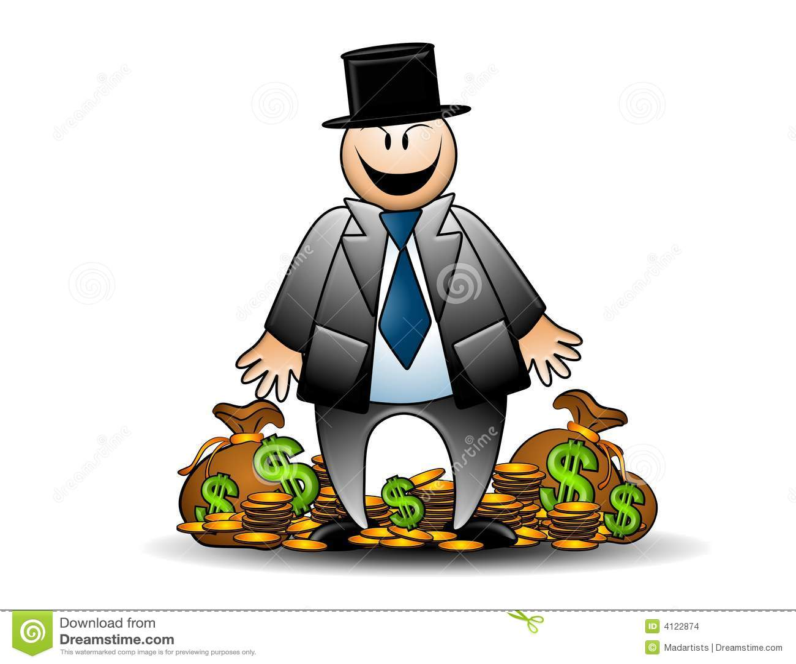 Gieriger Banker mit dem Geld-Grinsen