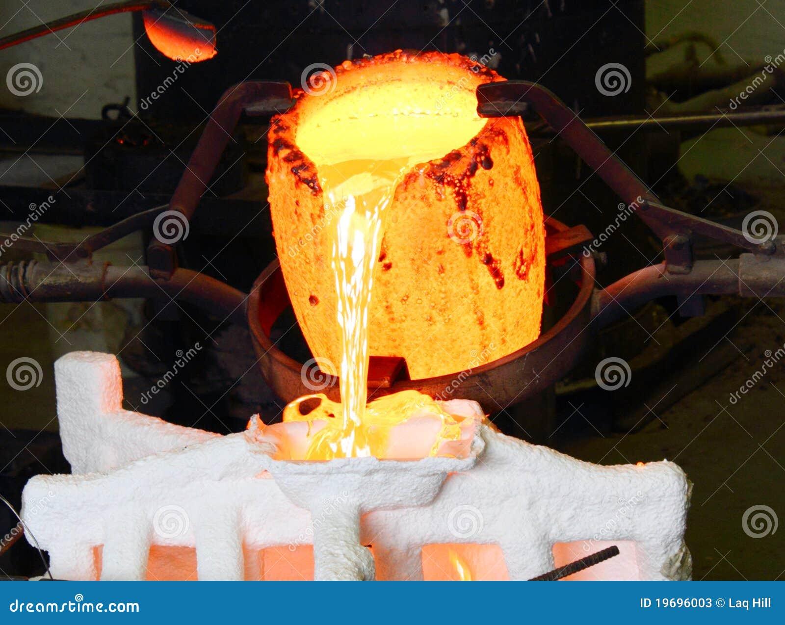 Giet het Gesmolten Metaal van de gieterij