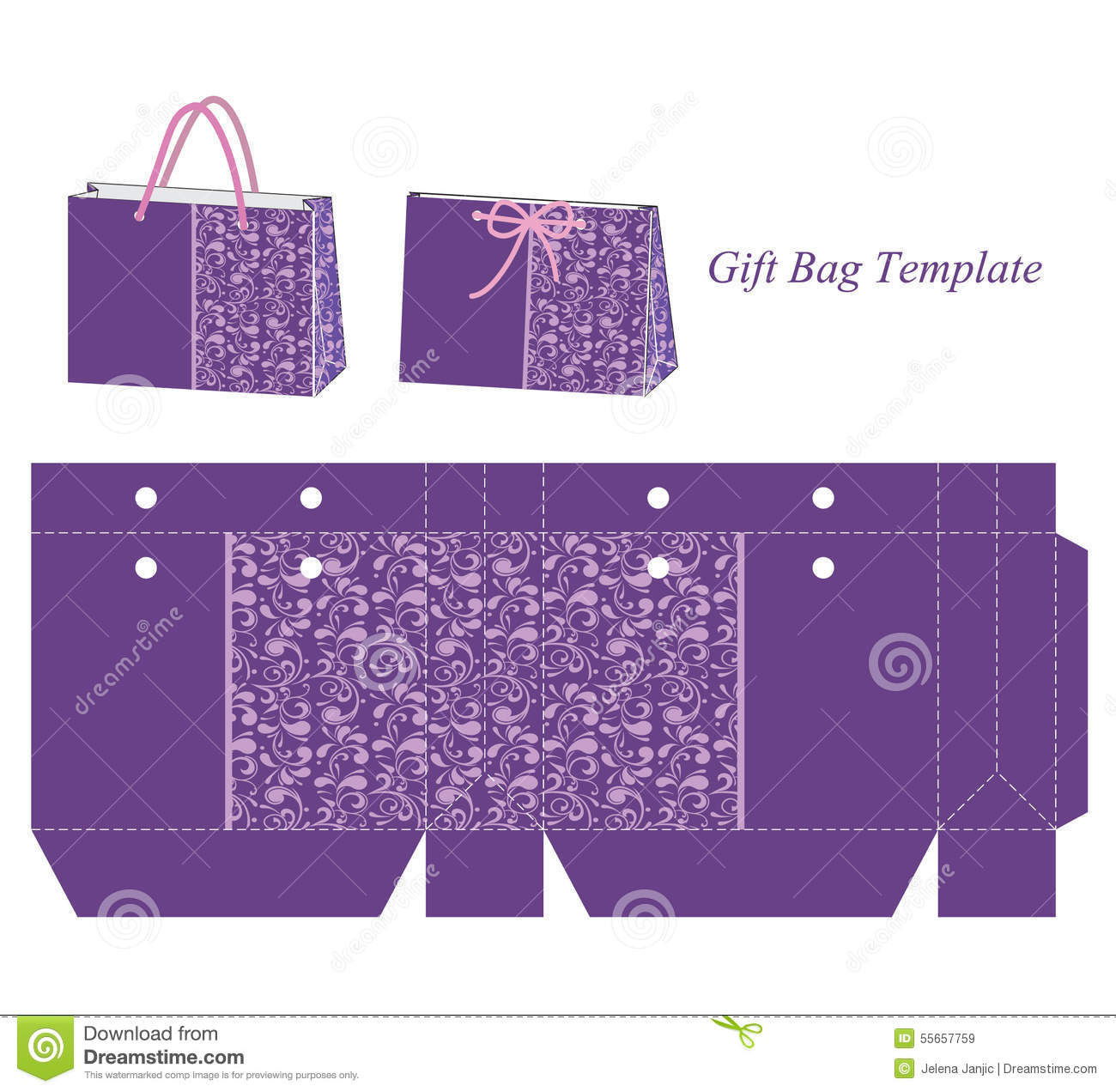 Gift Bag Template With Purple Floral Pattern Stock Vector