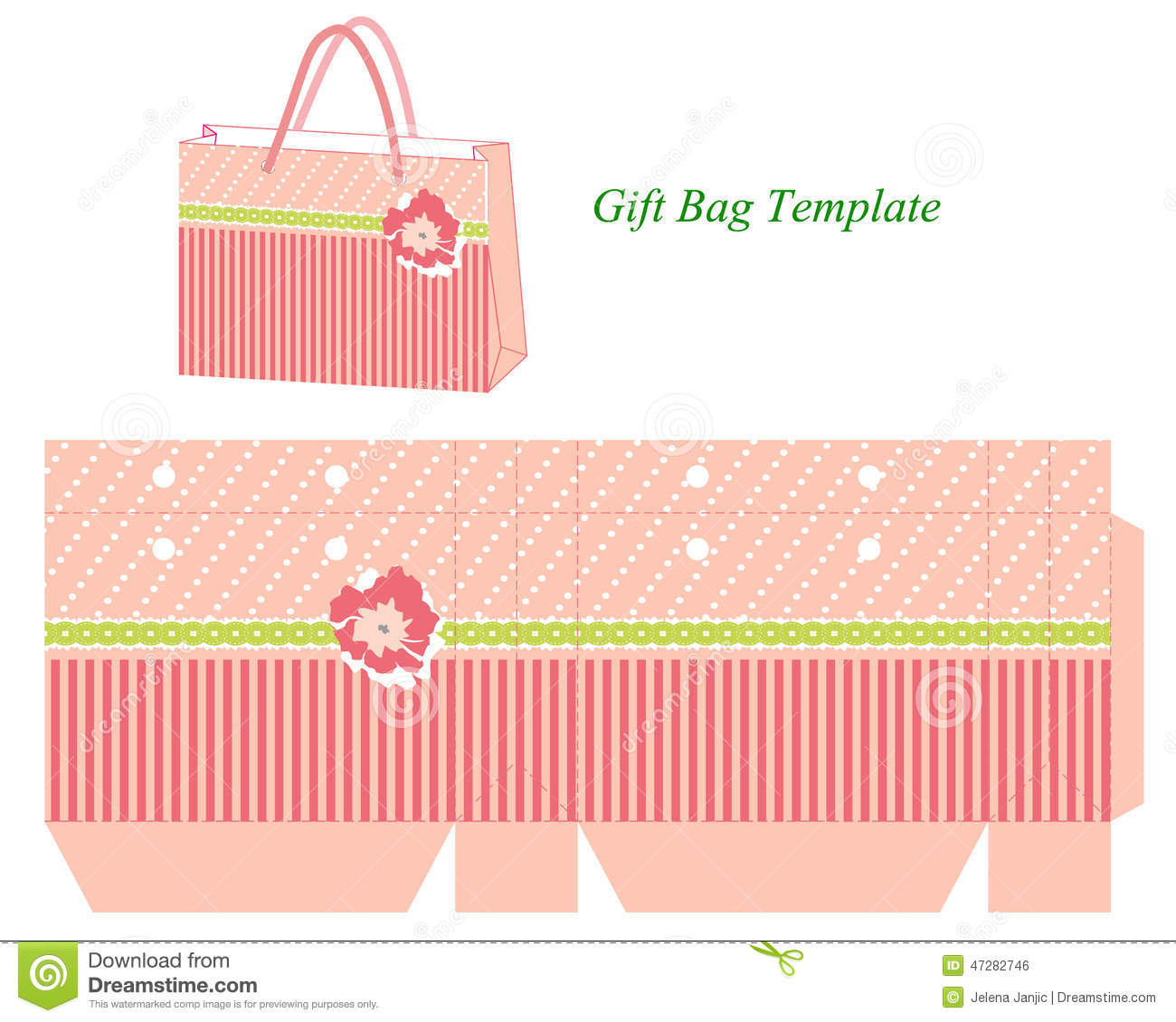 photo about Printable Gift Bags titled Reward Bag Template With Stripes And Flower Inventory Vector