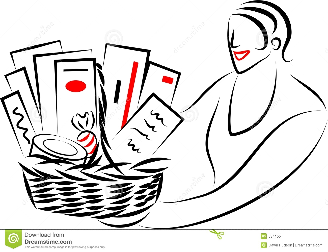 Gift basket stock illustration image of isolated person