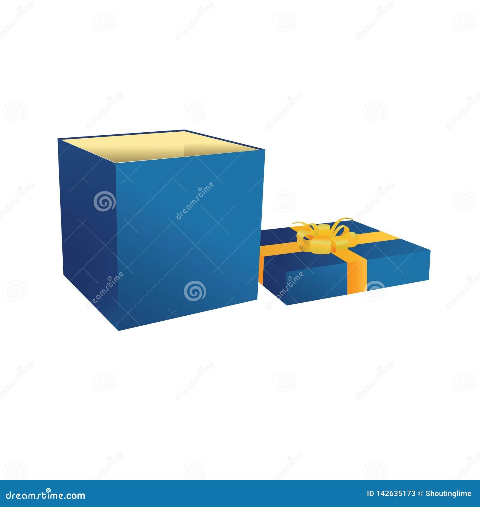 Gift blauwe open doos met gele band