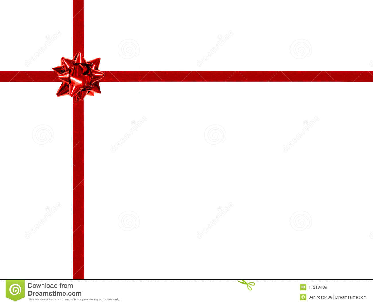 Red gift bow and ribbon on white - off center, rectangular orientation ...