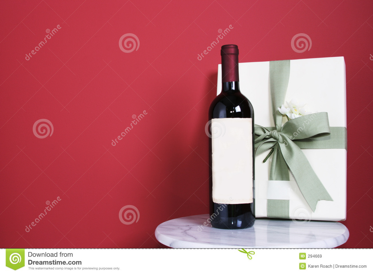 Gift with bottle of red wine