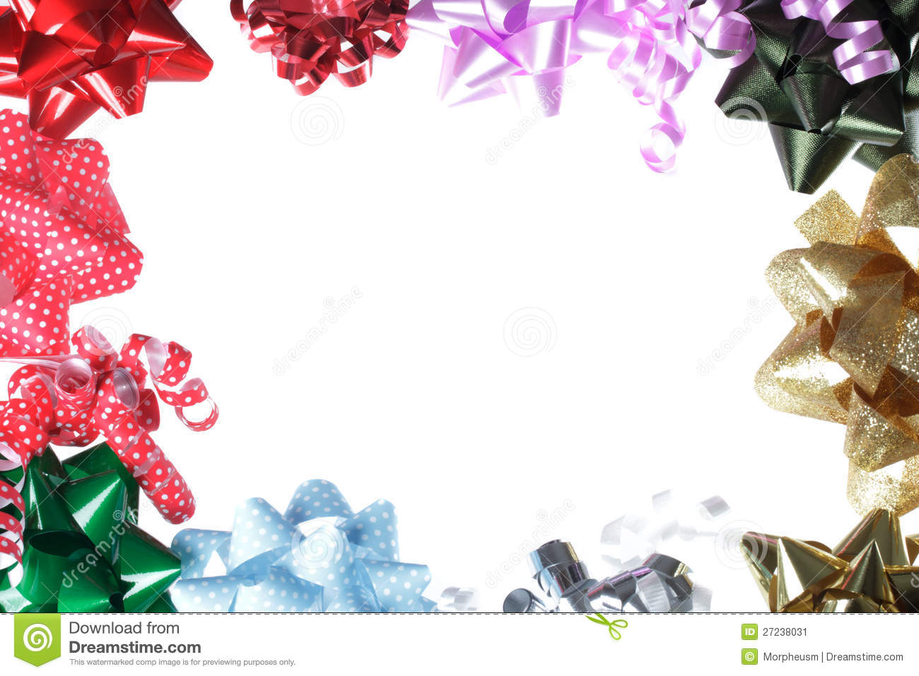 Gift Bow Border With White Background Stock Image - Image: 27238031