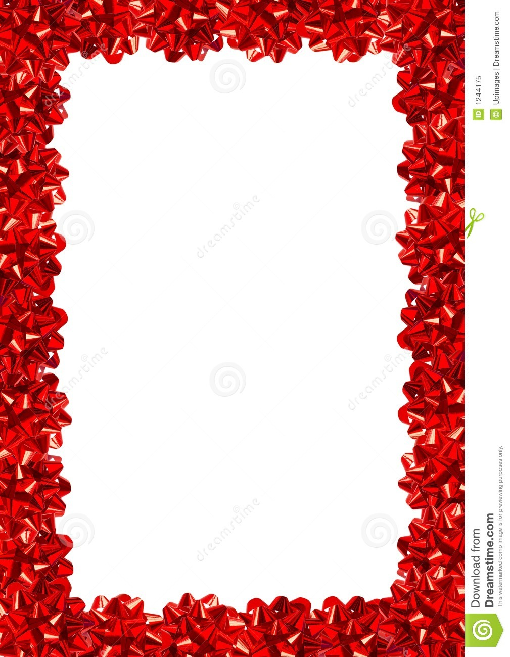 Red gift bows border with clipping path for easy background removing - Gift Bows Border Royalty Free Stock Photo Background Border Clipping Gift Path Red