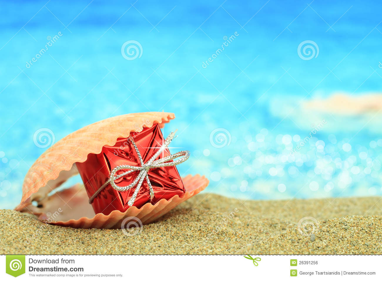 Gift Box On The Beach Royalty Free Stock Image Image