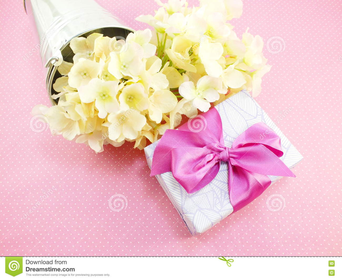 Gift box and beautiful flowers bouquet with space copy stock image download comp izmirmasajfo