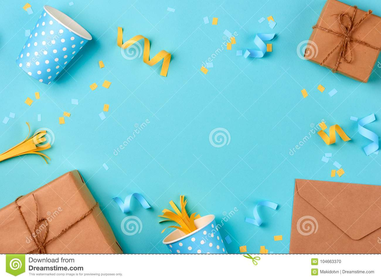 Gift box and birthday party things on a blue background