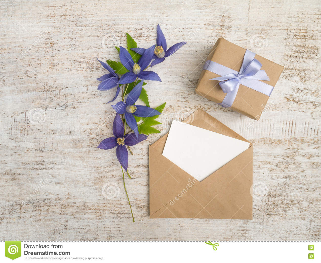 Gift Box Blue Flowers And Greeting Card