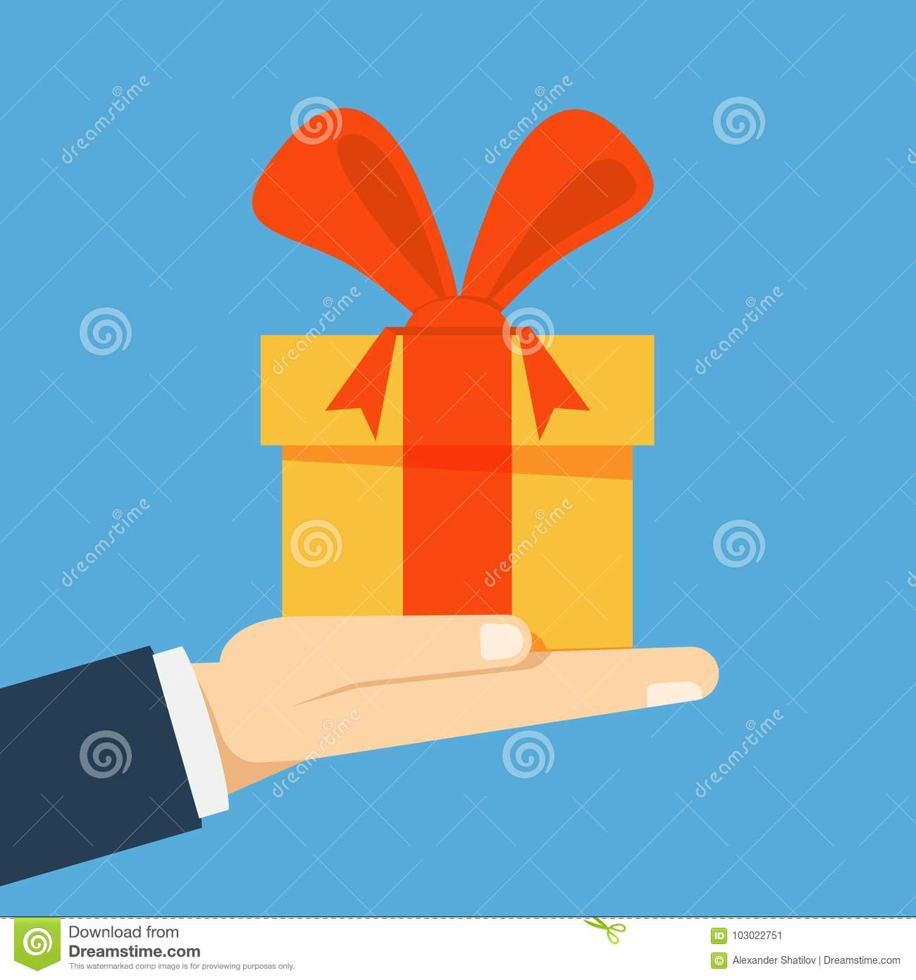Gift Box With A Bow On His Hand Businessman Manager Or Seller Proposes To Take For Holiday Birthday Vector Flat Illustration