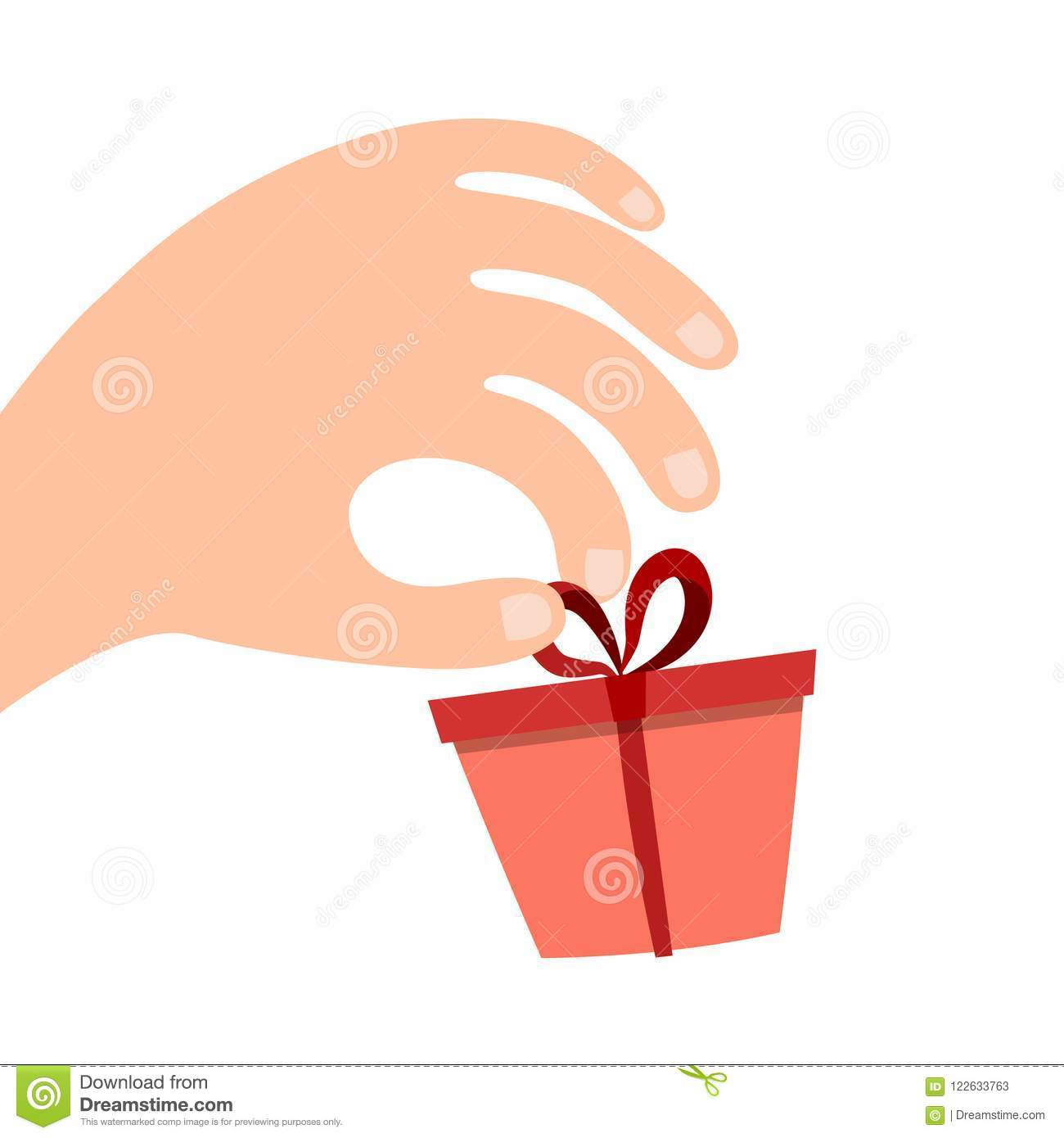 Gift Box With A Bow On His Hand Businessman Manager Or Seller Proposes To