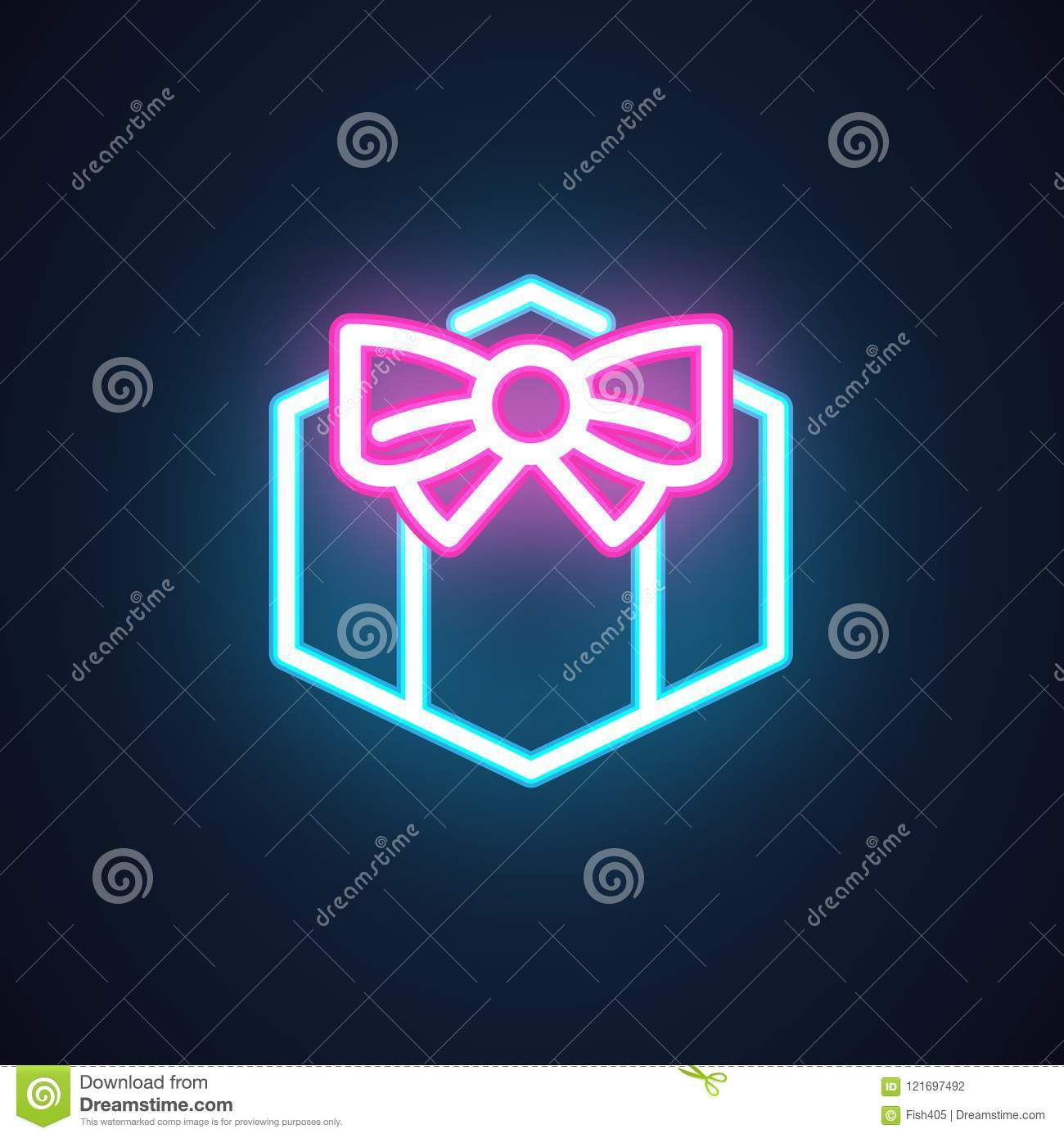 Gift Box With Bow Neon Icon Fluorescent Greeting Symbol For