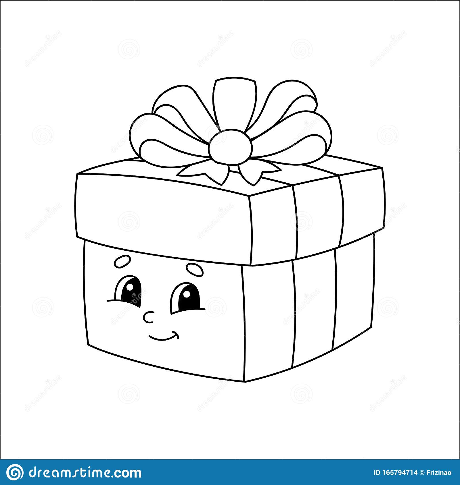 Gift Box Coloring Book For Kids Cheerful Character Vector Illustration Cute Cartoon Style Fantasy Page For Children Black Stock Vector Illustration Of Cheerful Cartoon 165794714