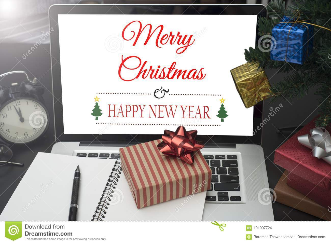 Gift Box With Computer On Desk. Concept Office Christmas Stock Photo ...
